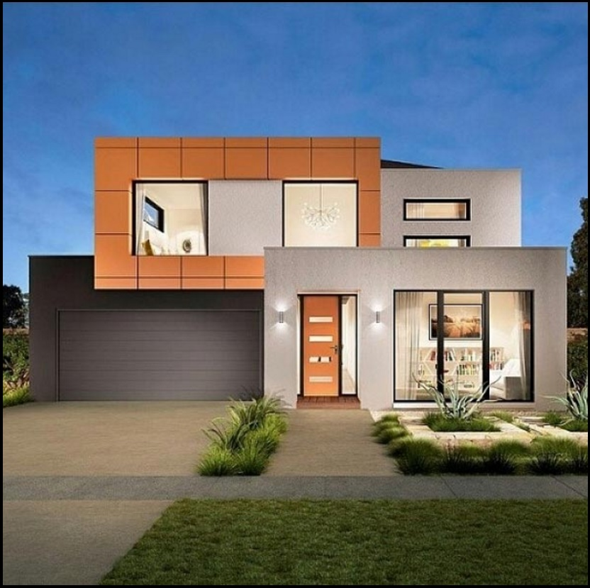 Fachada de casa con revestimiento cerámico y paneles de vidrio