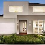 Fachada de casa de dos pisos minimalista