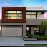 Fachada de casa moderna de 2 pisos y cochera doble