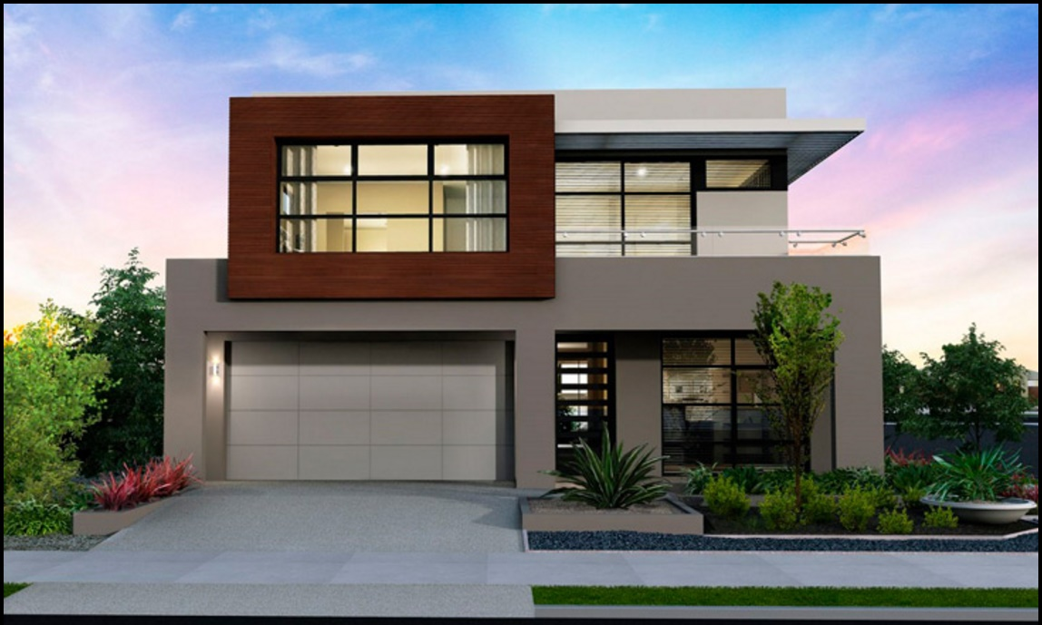 Fachada de casa moderna de 2 pisos y cochera doble for Planos de casas medianas