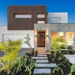 Fachada de casa rústica y moderna