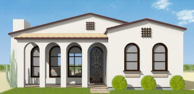 Fachadas de casas con galeria colonial