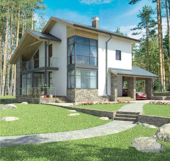 Fachadas de casas con galeria