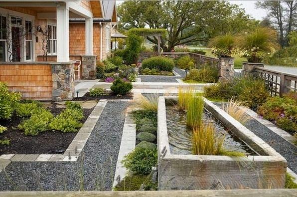 Fachadas de casas con hermosos jardines con piedras
