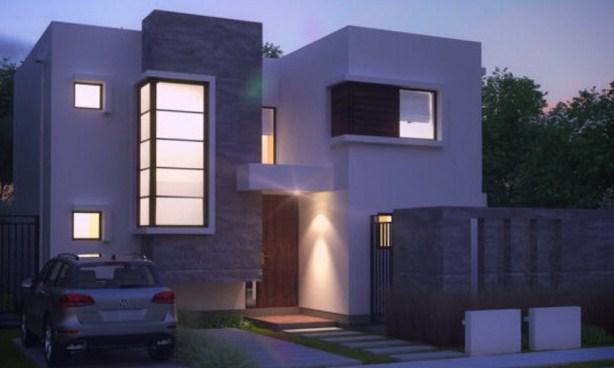Fachadas de casas con ventanas esquineras de dos pisos
