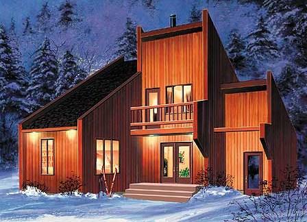 Fachadas de casas de madera con techos inclinados