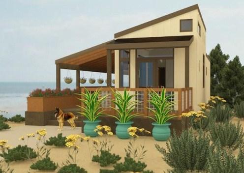 Fachadas de casas de playa con entrada lateral