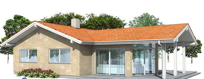 Fachadas de casas de una planta con techo a dos aguas