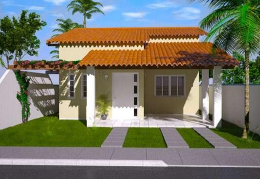 Fachadas de casas de una planta con tejas coloniales
