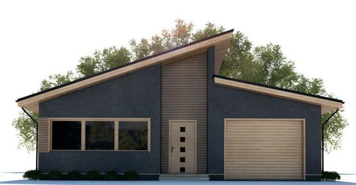 Fachadas de casas de una planta contemporanea