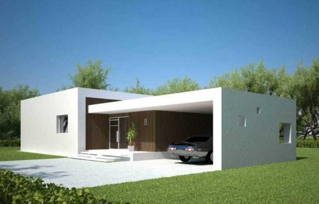 Fachadas de casas de una planta minimalistas