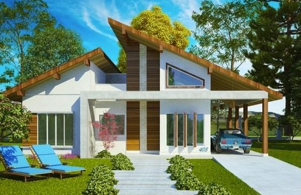 Fachadas de casas modernas con galeria
