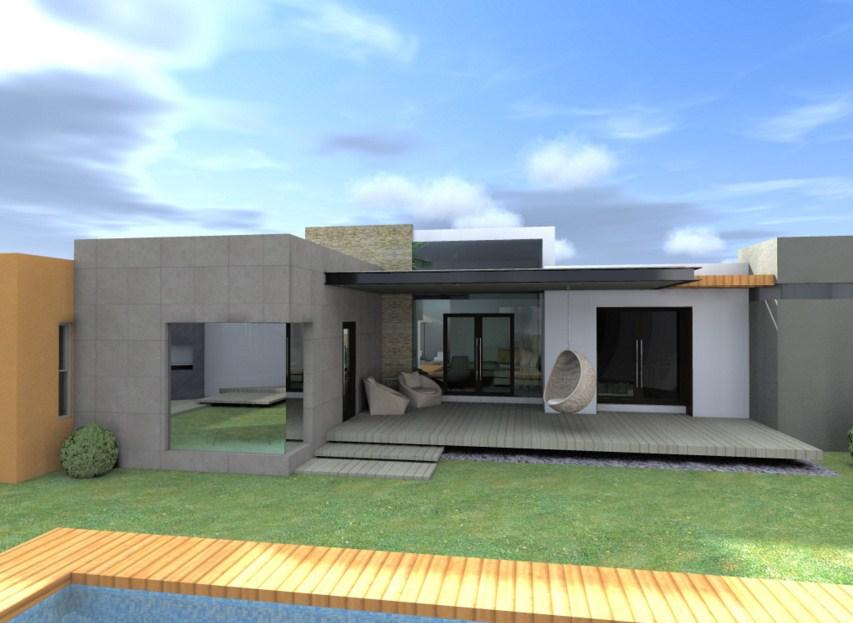 Pin casa moderna de una planta fachadas casas fotos on - Casas de una planta ...