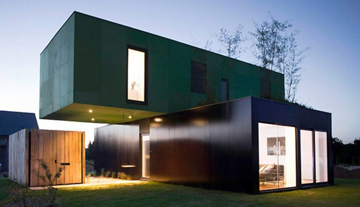 Photos of houses with containers