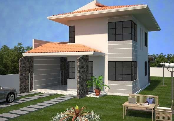 Fachada de casa sencilla con teja francesa for Modelos de techos con tejas