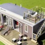 Fachada de casa hecha con contenedores