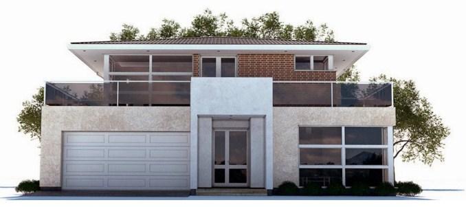 Fachadas de casas de dos pisos con ladrillo aparente