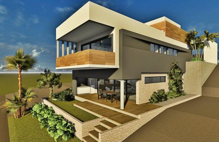 Fachadas de casas para terreno inclinado for Construir casas modernas