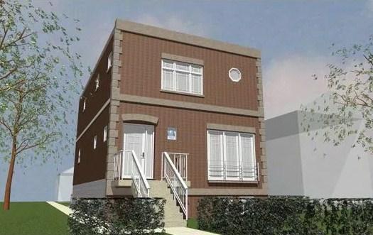 Fachadas de casas simples para terreno inclinado