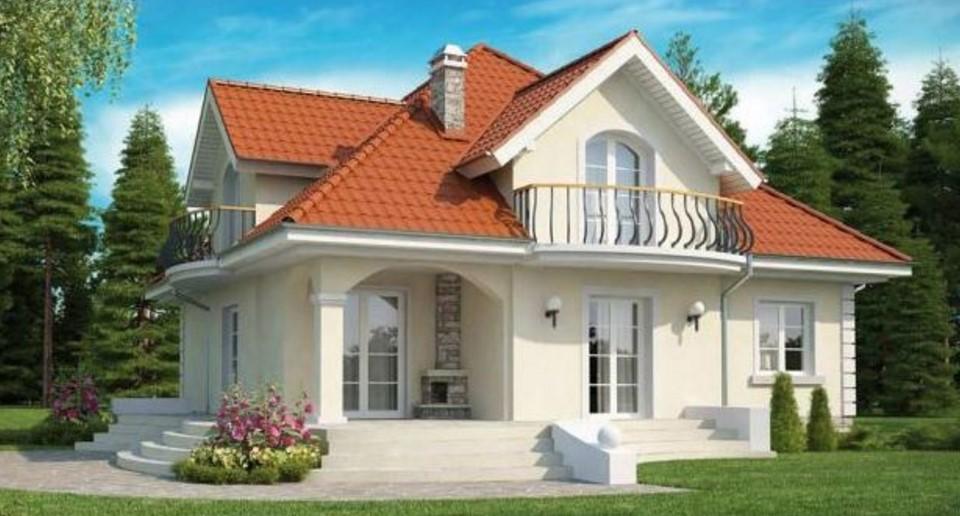 Fachada de casa clásica de 2 pisos