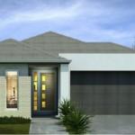 Fachada de casa moderna con cochera doble