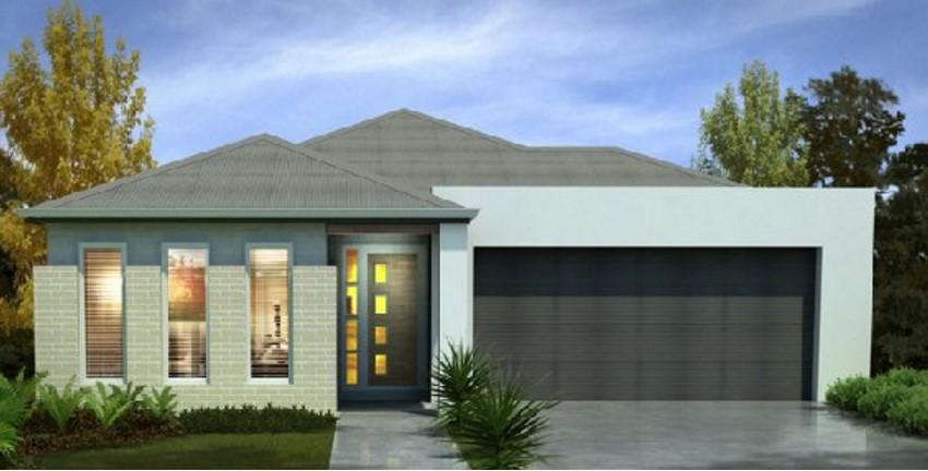 Fachada de casa moderna con cochera doble for Fachadas de ventanas para casas modernas
