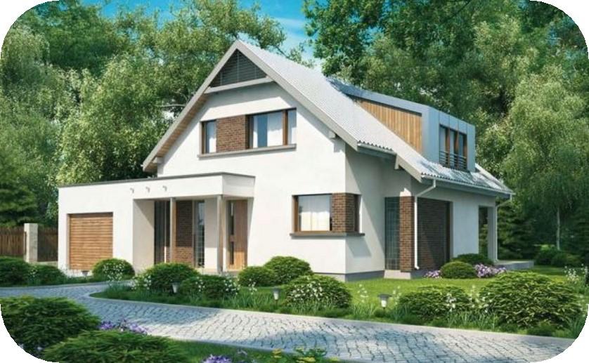 Fachada de casa moderna con techo a 2 aguas