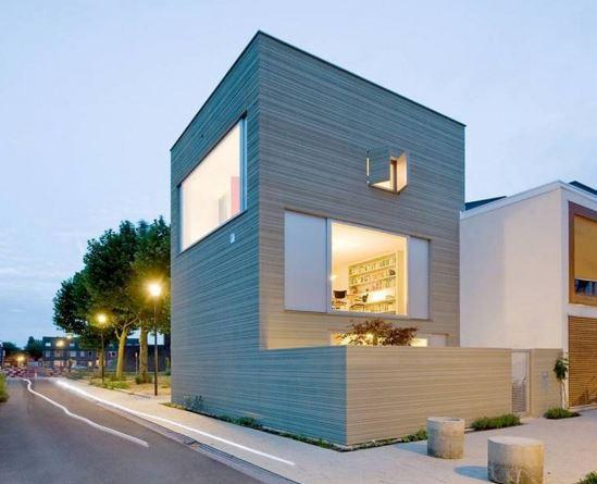 Fachadas de casas de dos pisos minimalistas esquina