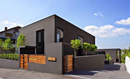 Fachadas de casas minimalistas de color gris plomo