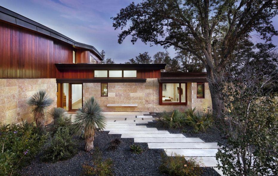 Fachadas de casas modernas con arboles