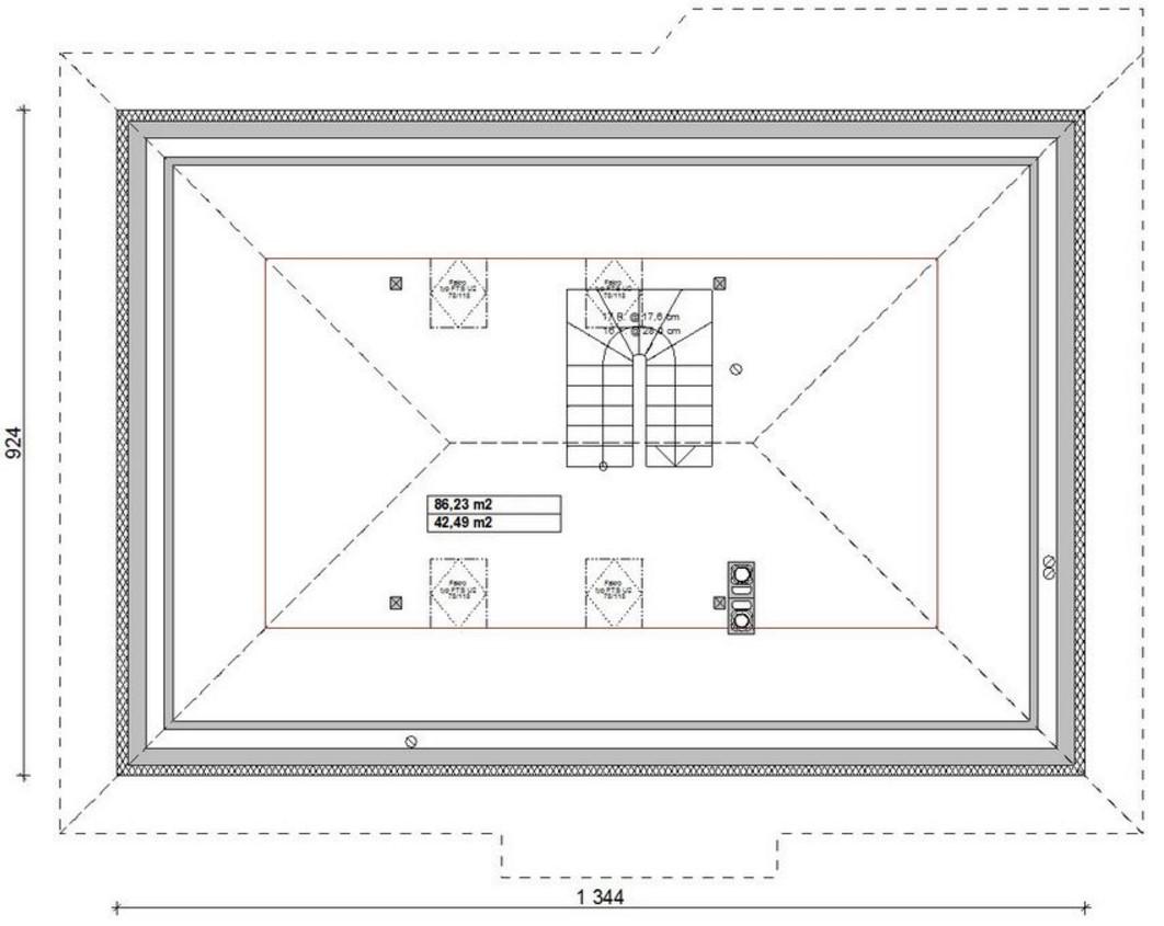 Plano techo cuatro aguas