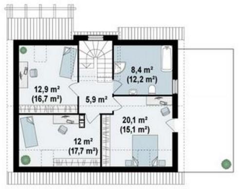 Plano y fachada de casa de 2 pisos