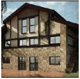 fachada de madera y piedra