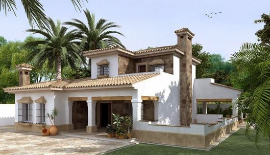 fachadas de casas coloniales con chimenea