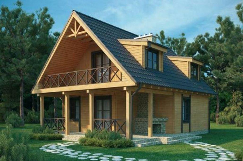 Fachada de cabaña de madera