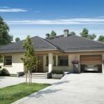 Fachada y contrafachada de casa moderna