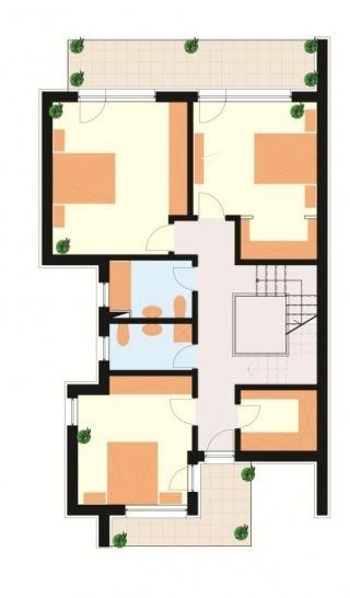 Fachada y plano de casa de 3 plantas