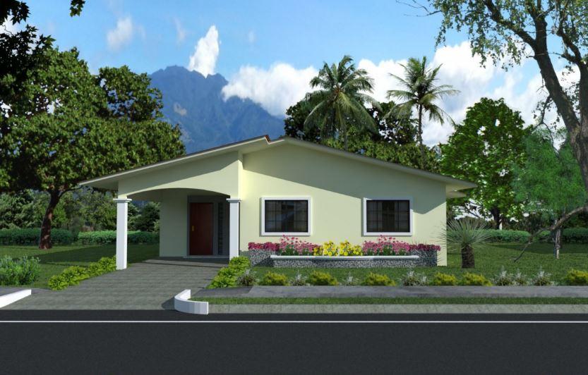 Fachadas de casas de barrio con techo a dos aguas