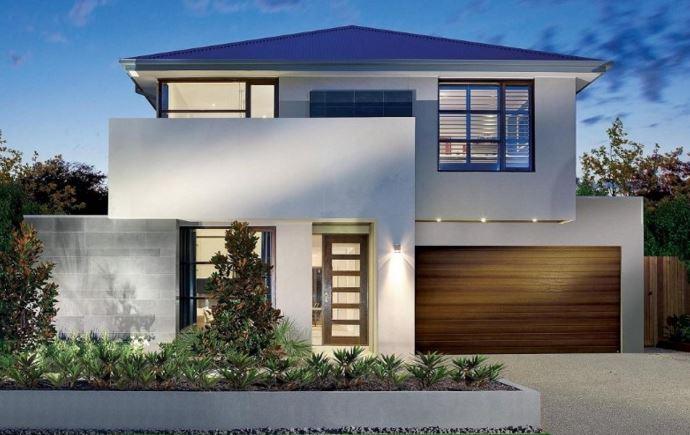 Gray facades with white