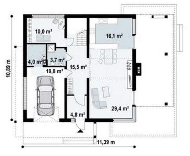 Plano de casa de 190 metros cuadrados