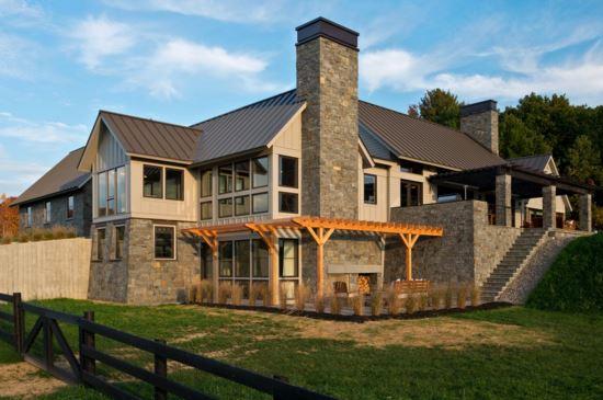fachadas de casas modernas con chimenea