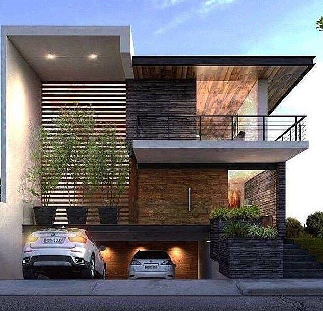 Fachadas de casas con garage en el subsuelo