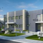 Fachadas de edificios de oficinas administrativas