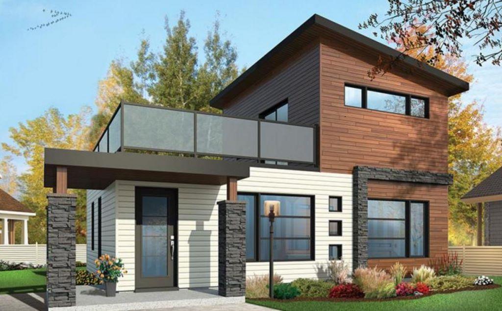 fachadas de casas de dos pisos de 6 metros de frente