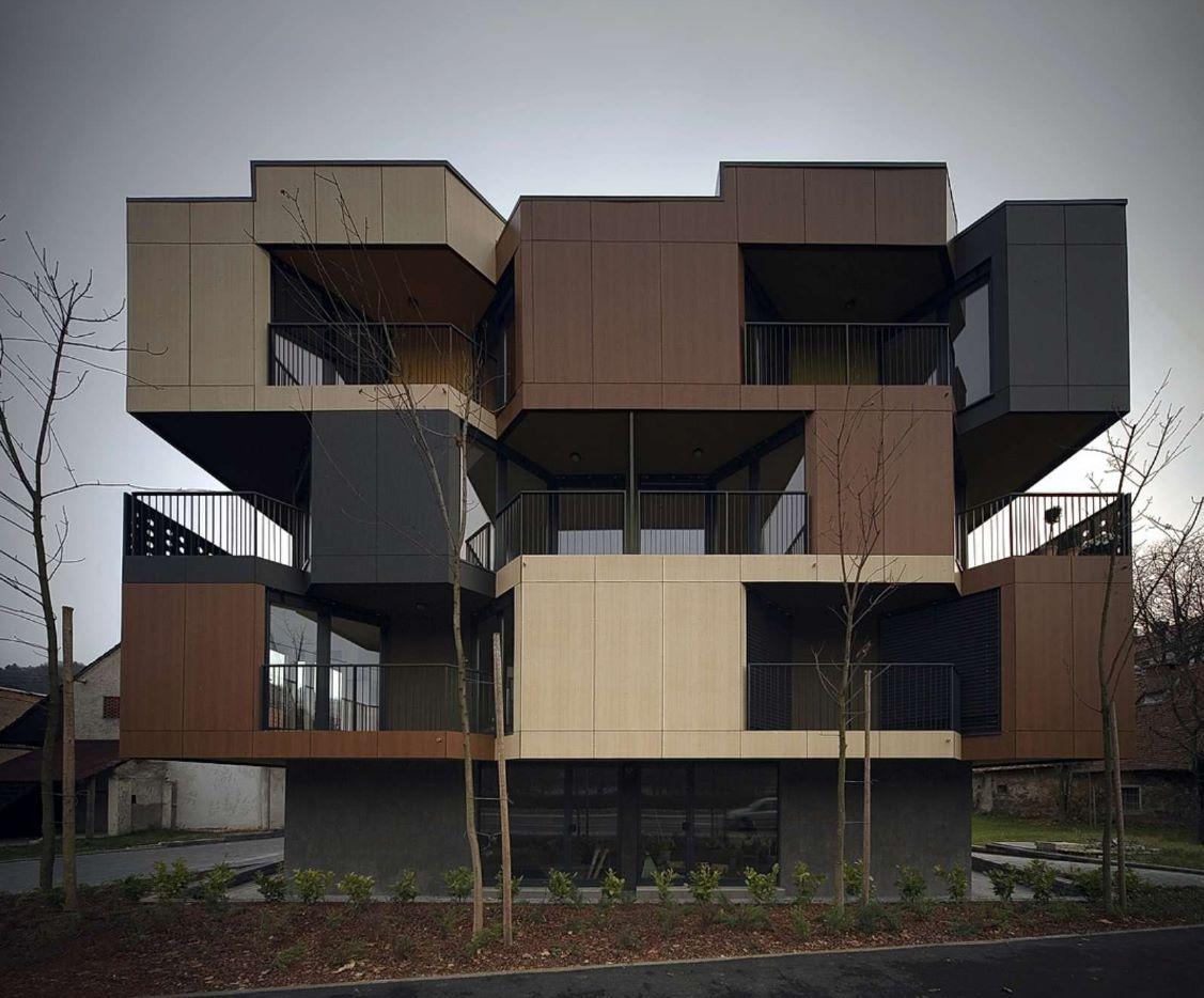 Imagenes de fachadas de departamentos peque os modernos for Modelos de apartamentos modernos y pequenos