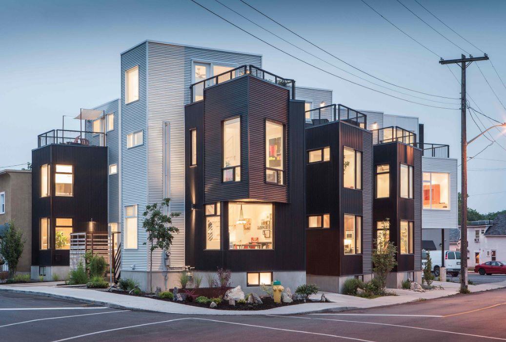 Imagenes de fachadas de departamentos peque os modernos for Fachadas de edificios modernos