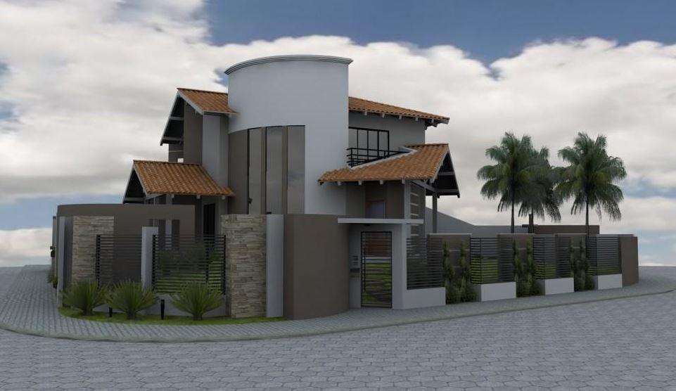 Casas esquineras modernas con tejas