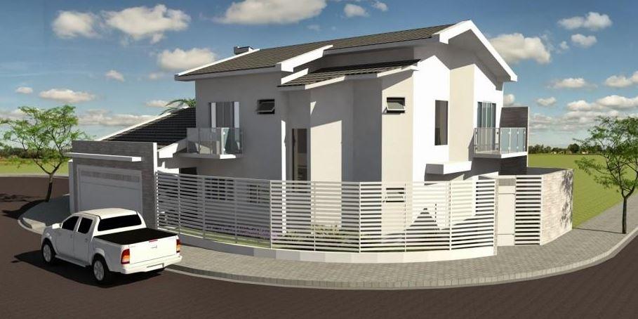 Diseños de casas esquineras con rejas horizontales
