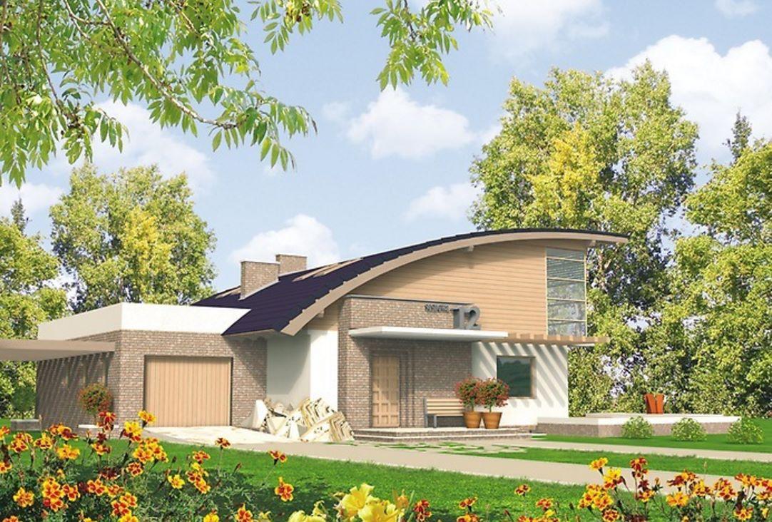 Fachada de casa con techo curvado