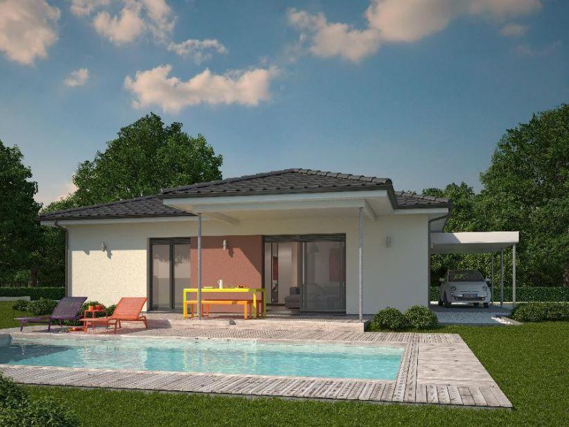 Fachada de casa cuadrada con piscina